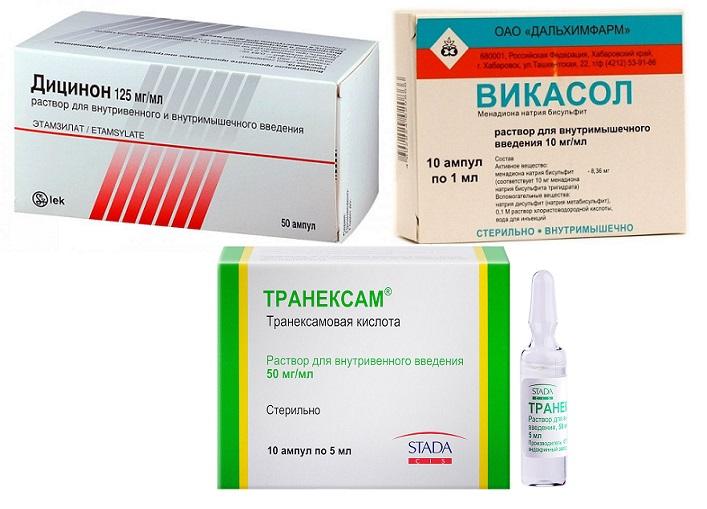 Дицинон. транексам. викасол растворы